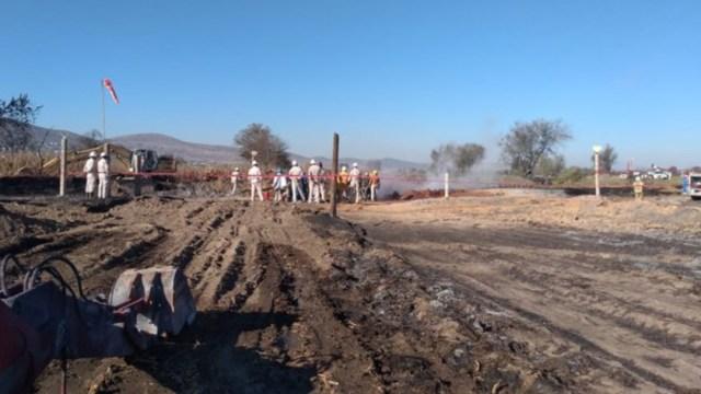 foto Sofocan incendio tras fuga de gas LP en ducto de Tepeaca (Twitter)