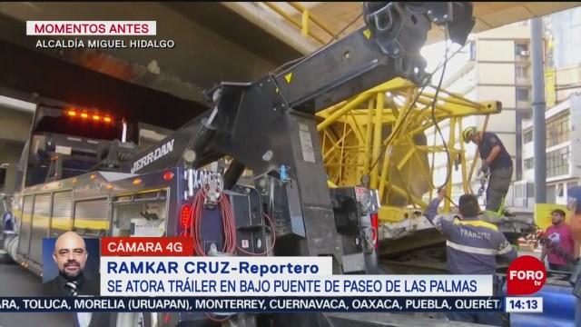 FOTO: Tráiler Continúa Atorado Bajo Puente Paseo Palmas,