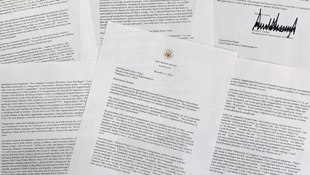 Foto: Trump envía dura carta a Pelosi sobre juicio político