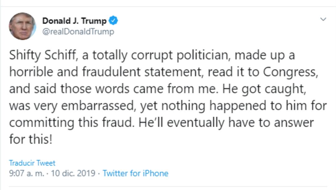 Trump responde mediante twitter a las acusasiones en el impeachment (Twitter: @realDonaldTrump)