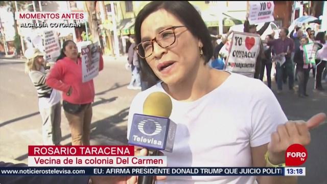 FOTO: Vecinos bloquean Miguel Ángel de Quevedo contra parquímetros, 15 diciembre 2019