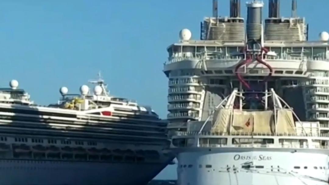 Chocan cruceros en Cozumel durante maniobras de atraque Milenio