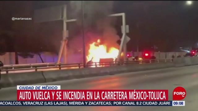 FOTO: Vuelca automóvil se incendia en la carretera México-Toluca, 15 diciembre 2019