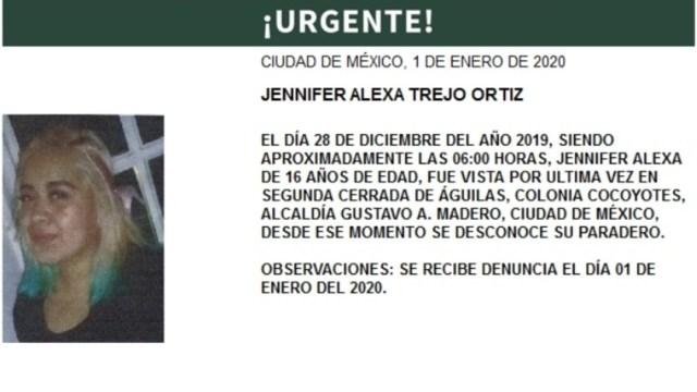 IMAGEN Alerta Amber por Jennifer Alexa Trejo Ortiz (PGJ CDMX)