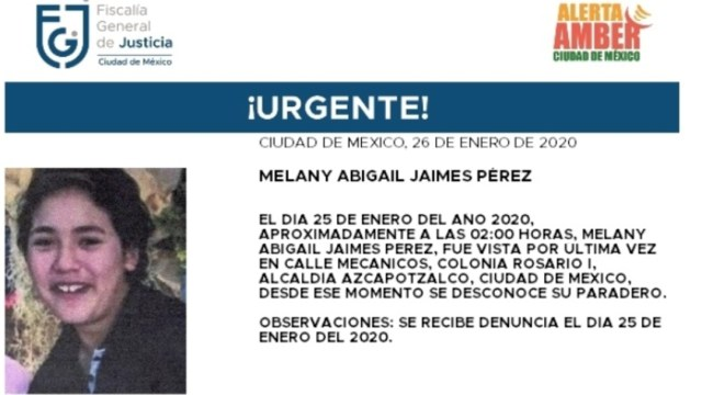 FOTO: Activan Alerta Amber para localizar a Melany Abigail Jaimes Pérez, el 27 de enero de 2020