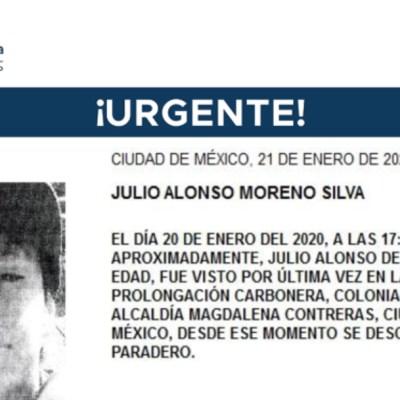 FOTO: Activan Alerta Amber para localizar a Julio Alonso Moreno Silva, el 22 de enero de 2020