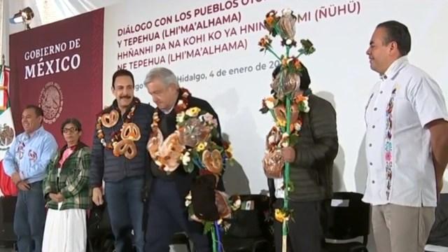 FOTO: El presidente López Obrador visitó las comunidades Otomí y Tepehua de Tenango de Doria, en Hidalgo, el 04 de enero de 2020