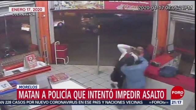 Foto: Video Muerte Policía Frustró Asalto Tienda Cuernavaca 20 Enero 2020