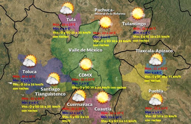 Foto: Pronóstico meteorológico para este sábado 26 de enero