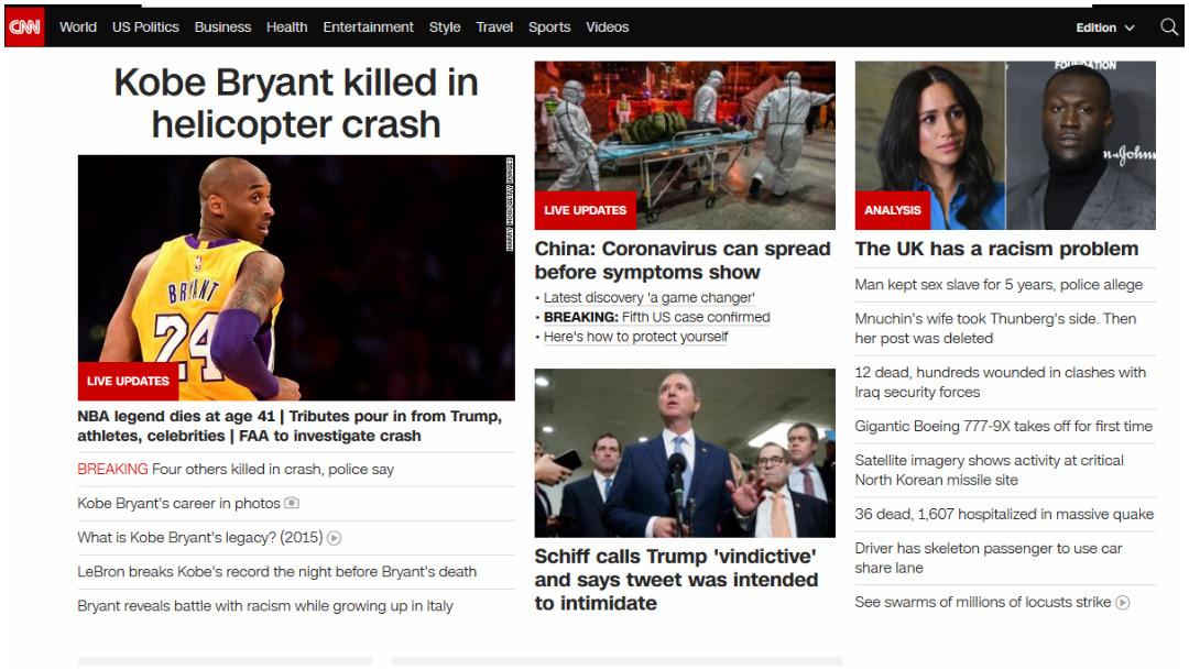 CNN informó la muerte de Kobe Bryant