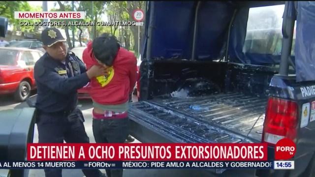 FOTO: detienen a 8 presuntos extorsionadores en la alcaldia cuauhtemoc