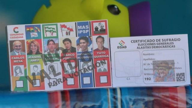 Foto: Replica de material electoral en miniatura de las elecciones nacionales del 2020 en Bolivia, 26 enero 2020