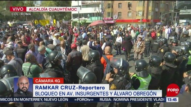 extrabajadores de la ruta 100 bloquean avenida insurgentes cdmx