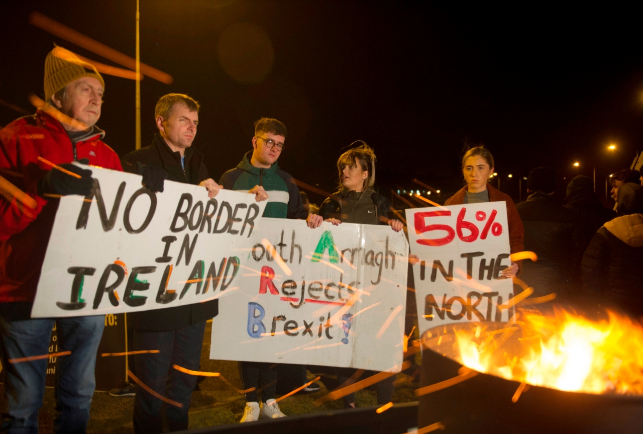 Foto: En Irlanda del Norte protestaron contra la separación, 31 de enero de 2020, (EFE)