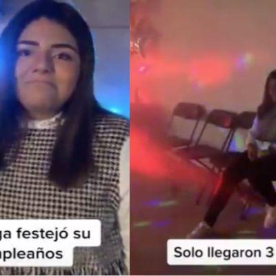 Joven organiza gran fiesta de cumpleaños; sólo van 3 invitados y se vuelve viral