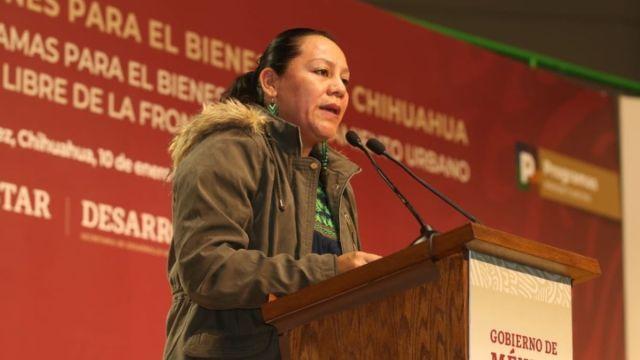 Foto: María Luisa Albores, titular de la Secretaria de Bienestar.