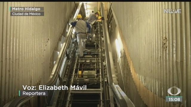 FOTO: inician trabajos para sustituir escaleras electricas del metro, 14 de enero del 2020