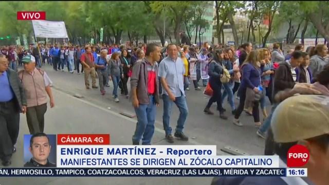 FOTO: manifestantes avanzan al zocalo por paseo de la reforma