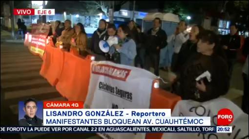 Foto: Manifestantes Bloquean Avenida Cuauhtémoc Metrobus 23 Enero 2020