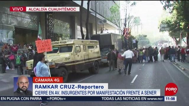 manifestantes bloquean la secretaria de energia cierran insurgentes sur
