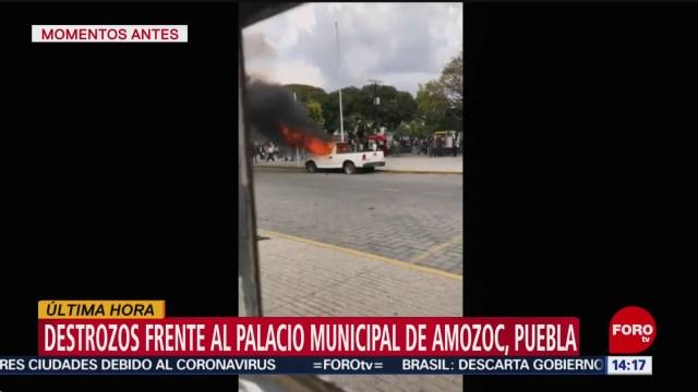FOTO: manifestantes realizan destrozos en palacio municipal de amozoc puebla