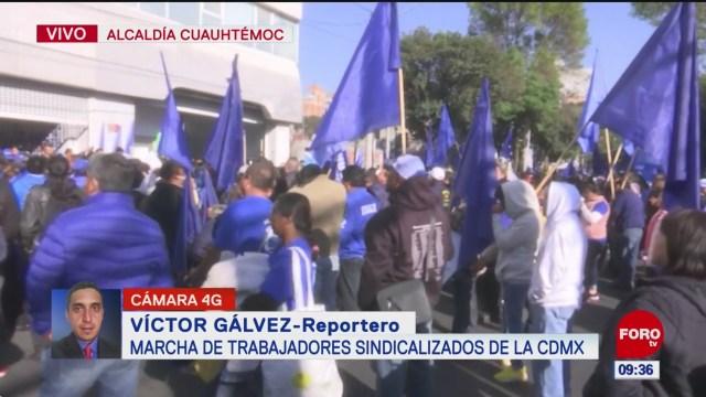 marcha de trabajadores sindicalizados de la cdmx