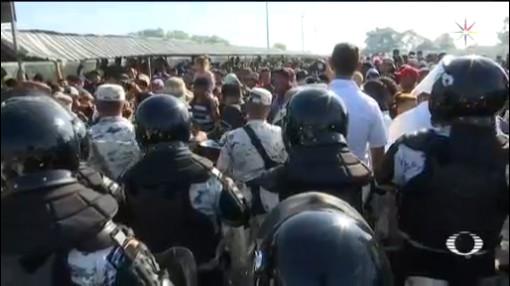 Foto: Migrantes Desafían Guardia Nacional Frontera Sur20 Enero 2020