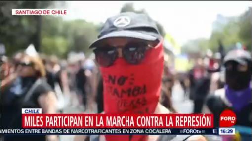 FOTO: 18 enero 2020, miles participan en marcha contra la represion en santiago de chile