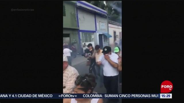 FOTO: 19 enero 2020, policias usan gas lacrimogeno contra manifestantes en yucatan