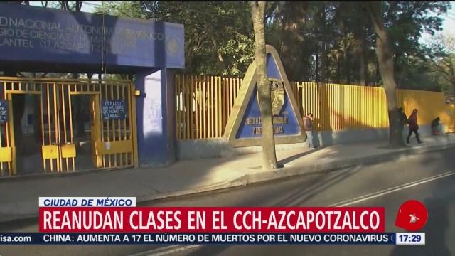 FOTO: reanudan clases en el cch azcapotzalco tras marcha