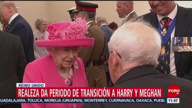 reina isabel ii establece periodo de transicion para harry y meghan