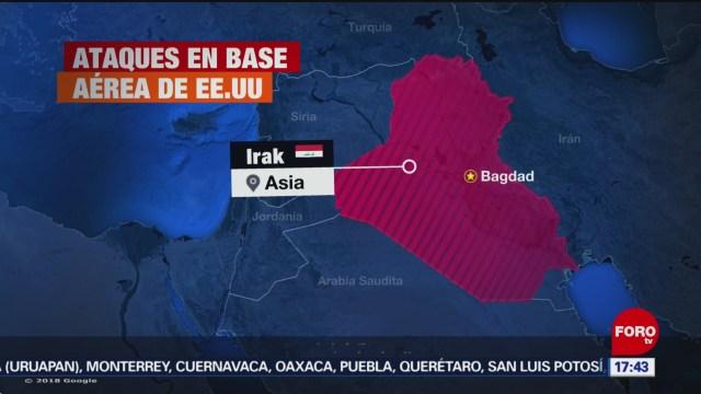 FOTO: se registra ataque a base aerea estadounidense en irak, 7 de enero del 2020