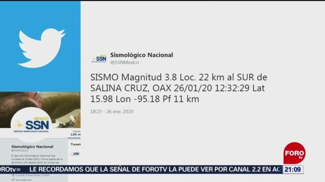 FOTO: 26 enero 2020, se registra sismo de magnitud 3 8 en oaxaca