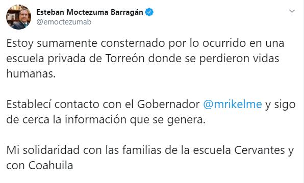 IMAGEN SEP lamenta tiroteo en Colegio Cervantes de Torreón (Twitter)