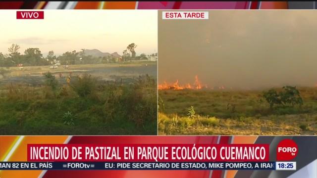FOTO: sofocan incendio de pastizales en cuemanco