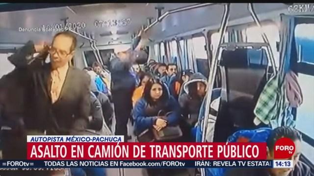 FOTO: 12 enero 2020, sujetos armados asaltan transporte publico en la mexico pachuca