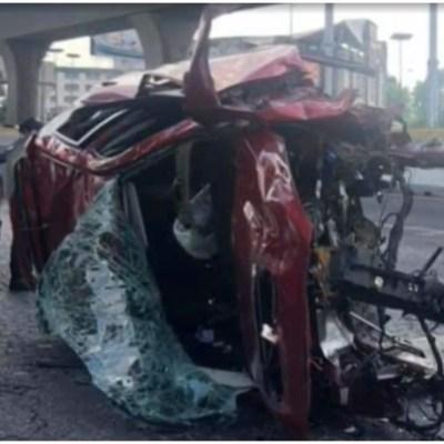 Foto: El conductor de un vehículo resultó herido tras accidente en el segundo piso, 23 de febrero de 2020 (Foro TV)