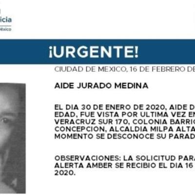 FOTO: Activan Alerta Amber para localizar a Aidé Jurado Medina, el 17 de febrero de 2020
