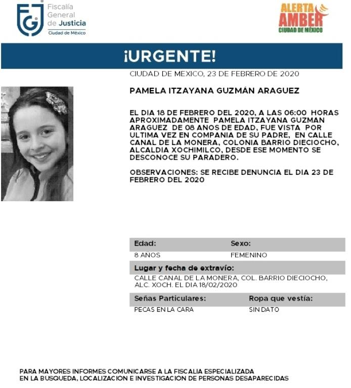 IMAGEN Alerta Amber por Pamela Itzayana Guzmán Araguez (Fiscalía CDMX)