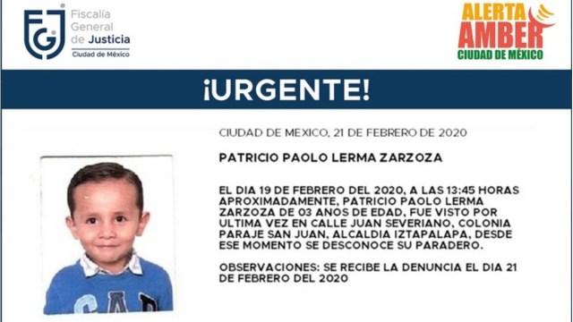Alerta Amber: Patricio Paolo desapareció en Iztapalapa
