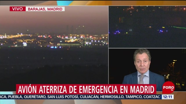 FOTO: 3 Febrero 2020, avion de air canada logra aterrizaje de emergencia en madrid