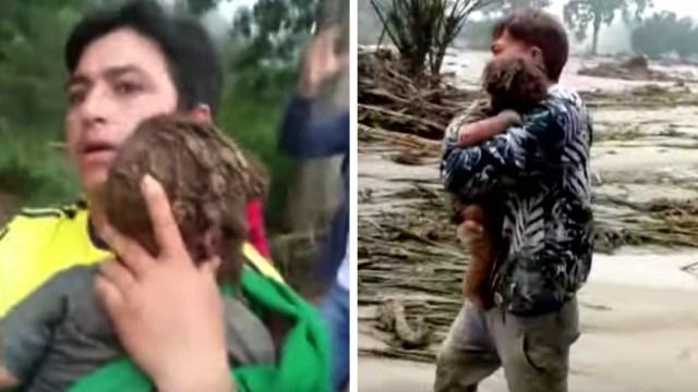 Rescatan con vida a bebé sepultado por avalancha de lodo