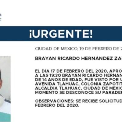 Foto: La Fiscalía capitalina activó la Alerta Amber para localizar a Brayan Ricardo Hernández Zacarías, 20 febrero 2020