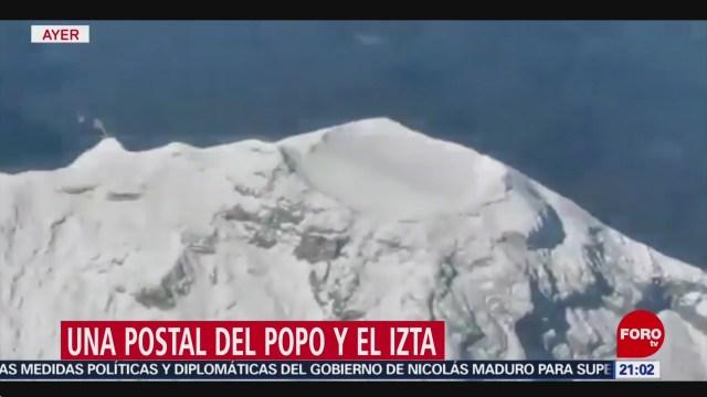 FOTO: 7 febrero 2020, captan desde un avion al popocatepetl y iztaccihuatl cubiertos de nieve