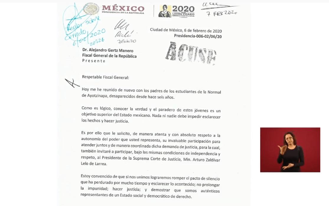 IMAGEN AMLO hace pública la carta que envió al fiscal general sobre el caso Ayotzinapa (YouTube)