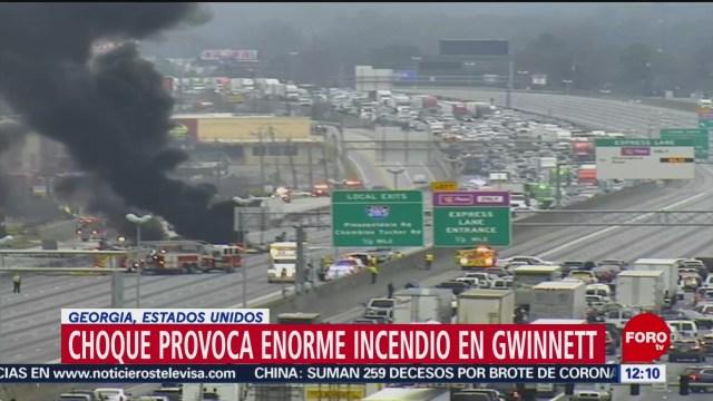FOTO: 1 Febrero 2020, choque provoca enorme incendio en gwinnett estados unidos