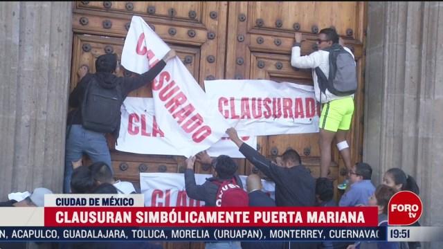 Foto: Clausuran Simbólicamente Puerta Mariana Palacio Nacional 25 Febrero 2020