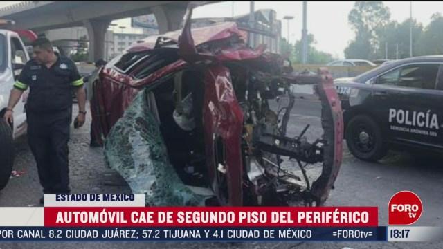 FOTO: 23 Febrero 2020, coche cae del segundo piso del periferico el conductor fue hospitalizado