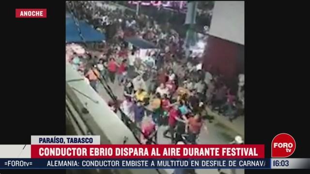 FOTO: conductor ebrio dispara al aire durante festival en tabasco