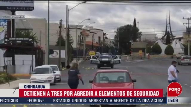 FOTO: 23 Febrero 2020, detienen a tres por agredir a elementos de seguridad en chihuahua